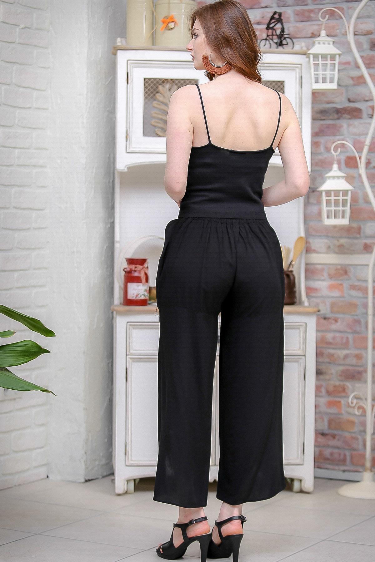 Chiccy Kadın Siyah Vintage Dev Yırtmaçlı Çiçek Nakış Detaylı Pantolon M10060000PN99179 4