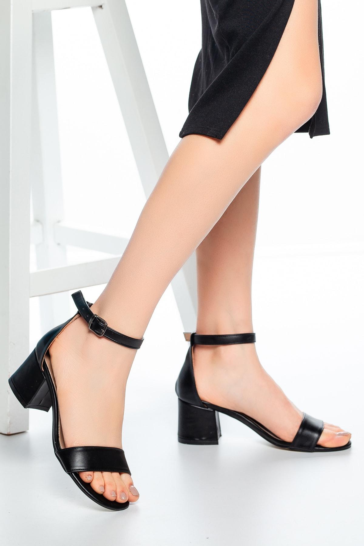 Siyah Cilt Kadın Klasik Topuklu Ayakkabı Md1015-119-0001