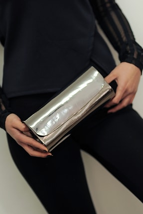 WMİLANO Platin Ayna Kadın Abiye Çanta 0