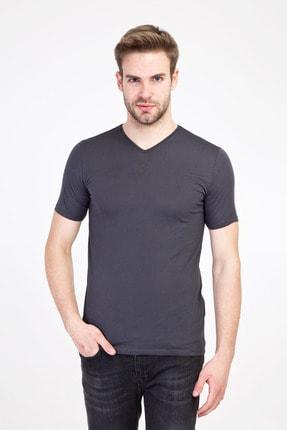 Kiğılı Erkek Koyu Antrasit V Yaka Slim Fit Tişört 0