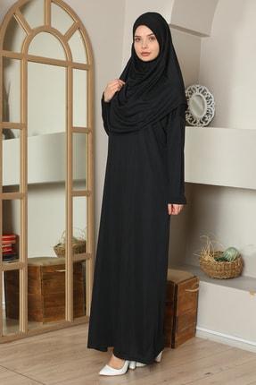 medipek Kolay Giyilebilen Tek Parça Namaz Elbisesi Siyah Büyük Beden 1