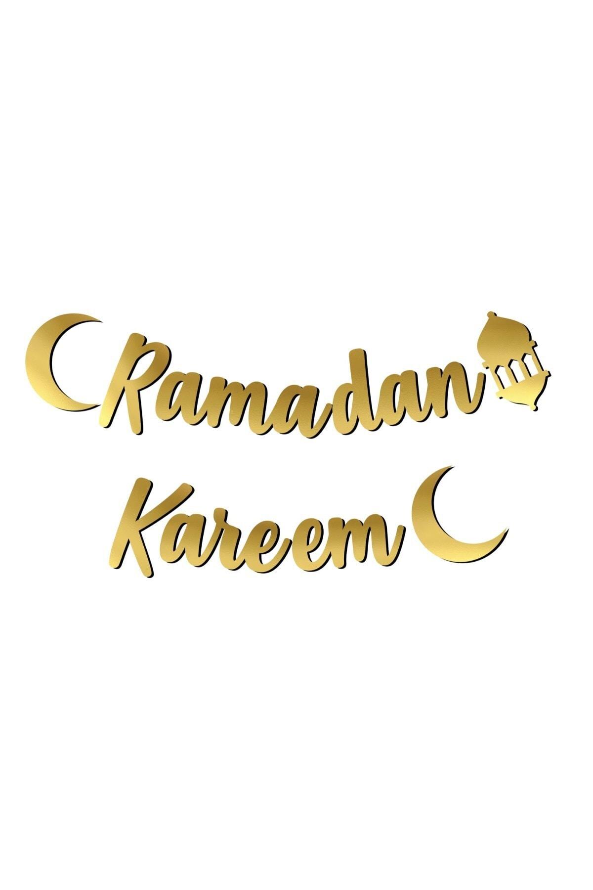 Ramadan Kareem Yazılı Kaligrafi Banner Gold Renkli 200x20 Cm Ramazan Bayramı Altın Renginde Süs