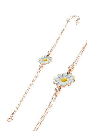 Söğütlü Silver Kadın Rose Renk Gümüş Mineli Papatya Bileklik SGTL8640 0