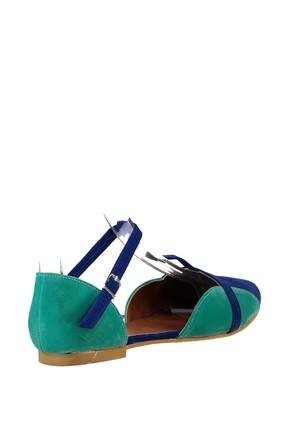 Fox Shoes Saks Mavi Su Yeşili Kadın Ayakkabı B726881802 2
