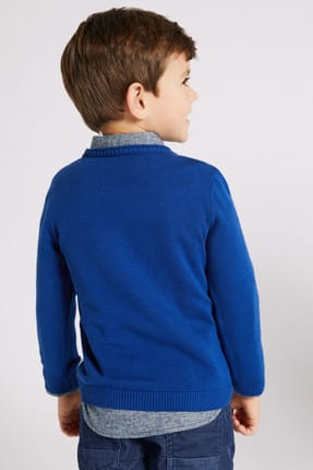 Marks & Spencer Lacivert Erkek Çocuk Saf Pamuklu Kazak 1