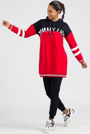 Baskılı Kol Garnili Kırmızı-Lacivert Kadın Eşofman Takım 3471 resmi