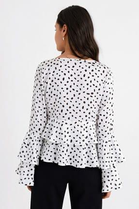 Hanna's Kadın Beyaz Puantiyeli Kat Kat Volanlı Uzun Kollu Bluz HN1676 3