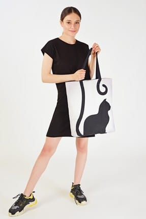 Addax Kadın Kedi Desenli Çanta Ç09 ADX-0000019107 0