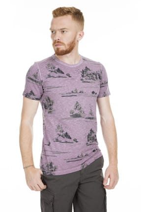 Lufian Erkek Issa Modern Grafik T- Shirt Koyu Mor 111020016100860 2
