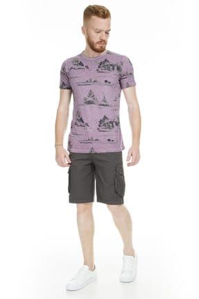 Lufian Erkek Issa Modern Grafik T- Shirt Koyu Mor 111020016100860 3