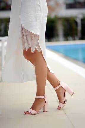 Pembe Potin Pudra Süet Kadın Klasik Topuklu Ayakkabı A200-19 2