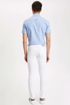 Defacto Carlo Skinny Fit Düşük Bel Dar Paça Beyaz Jean Pantolon 2