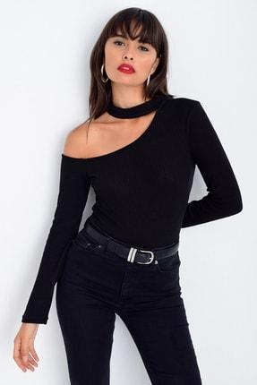 Cool & Sexy Kadın Siyah Tek Omuz Bluz CG53 1