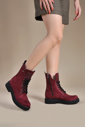 Vizon Ayakkabı Bordo Süet Kadın Bot 149633 0