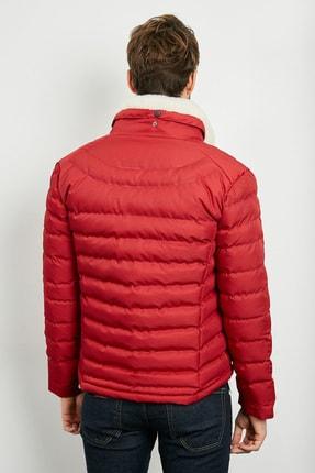 Sateen Men Erkek Kırmızı Slim Fit Yakası Kürklü Mont 20KMO845E101 2