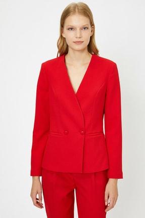 Koton Kadın Kırmızı Düğme Detaylı Ceket 0KAK52938UW 3