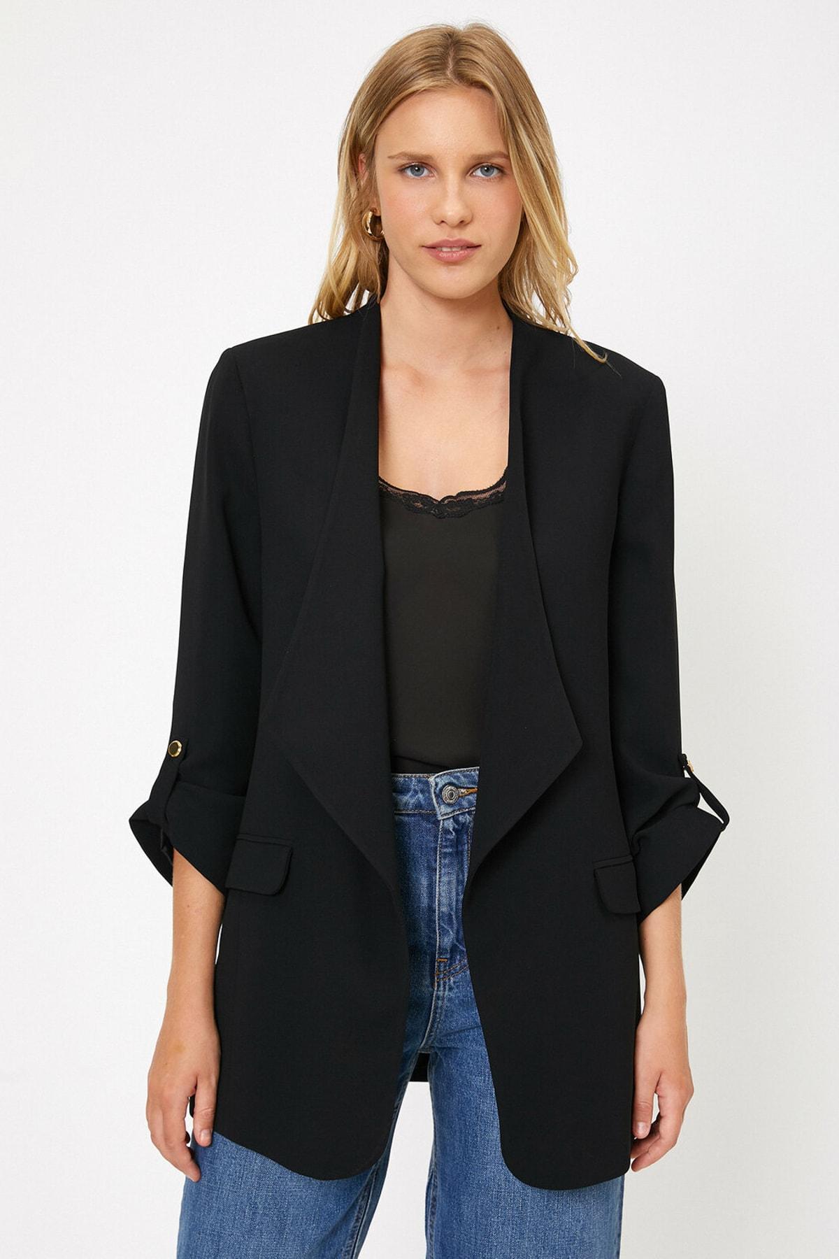 Koton Kadın Siyah Cep Detaylı Ceket 0KAK52102UW
