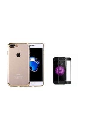 Teleplus Iphone 7 Plus Kenarı Renkli Desenli Silikon Kılıf + Tam Kapatan Cam 0