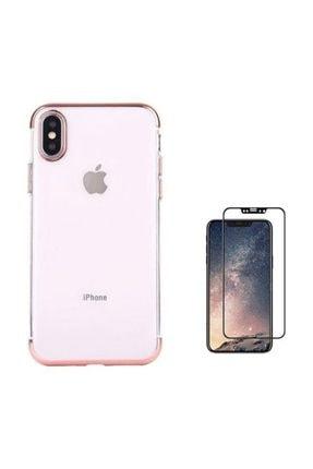 Teleplus Iphone X Kılıf Kenarı Renkli Desenli Silikon  + Tam Kapatan Cam 0