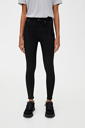 Pull & Bear Kadın Siyah Basic Yüksek Bel Skinny Fit Jean 09684315 1
