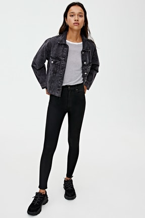 Pull & Bear Kadın Siyah Basic Yüksek Bel Skinny Fit Jean 09684315 0