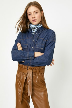 Koton Kadın Mavi Gömlek 0KAK67000MD 1