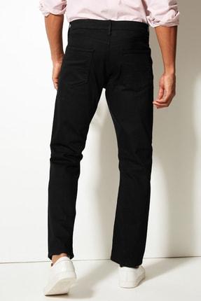 Marks & Spencer Erkek Siyah Straight Fit Streç Jean Pantolon T17001616M 2
