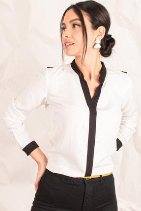 armonika Kadın Ekru Önü Şeritli Gömlek ARM-18K001255 1