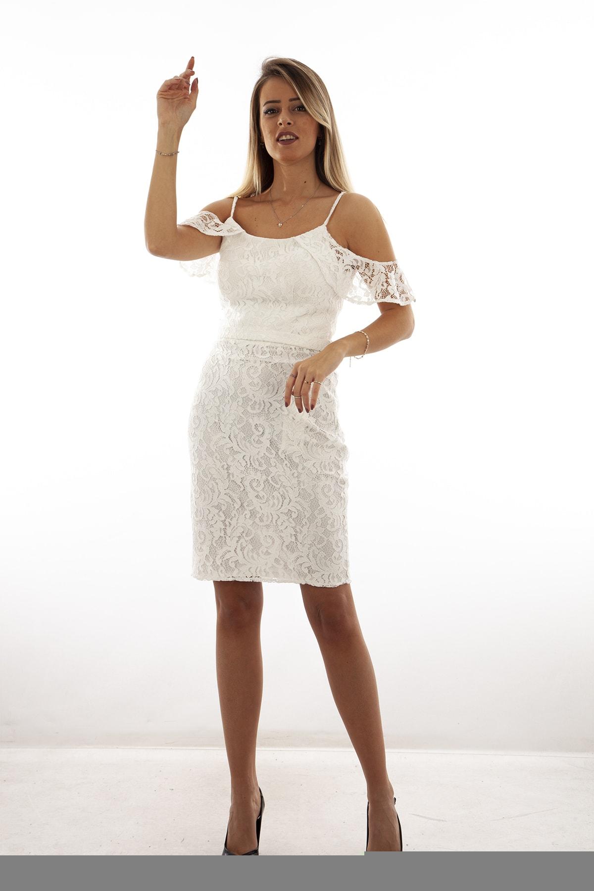 Ardanewline Kadın Ekru Elbise 130122-10 0