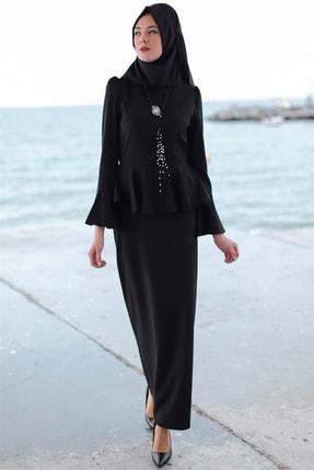 Kadın Siyah Peplum Elbise 19Avg1076 19AVG1076