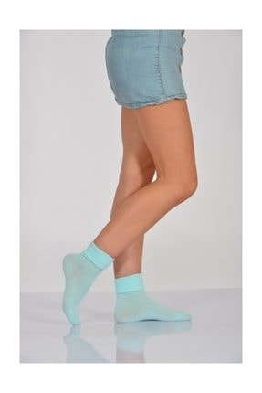 4'lü Paket - Kıvrık Kadın Soket Çorabı - Mavi B-art015 B-ART015-42
