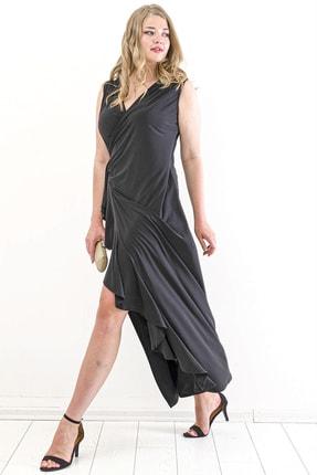 Angelino Kadın Sandy Yan Yırtmaç Abiye Elbise PNR88 Siyah T109998 4