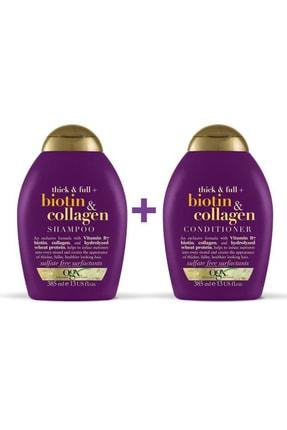 OGX Dolgunlaştırıcı Biotin&Kolajen Sülfatsız Şampuan 385ml + Bakım Kremi 385ml 1