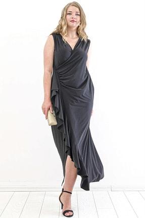 Angelino Kadın Sandy Yan Yırtmaç Abiye Elbise PNR88 Siyah T109998 1