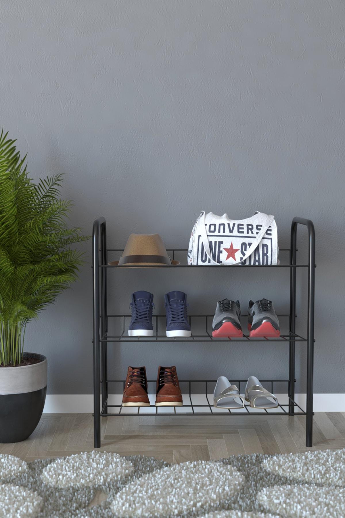 3 Raflı Ayakkabılık Metal Ayakkabılık Çok Amaçlı Dolap - Siyah