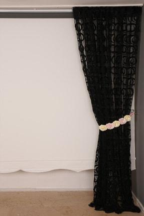 AKÇA TEKSTİL Vakko Siyah Renk Ip Perde Hazır Düğmeleri Dikilmiş 3 Mt. Kupon Perde 300*270 cm 3