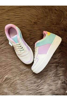 ELSESHOES Kadın Krem Lila Sneaker 2