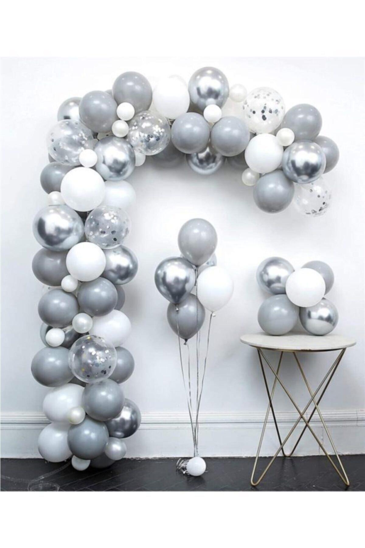 Gri Beyaz Gümüş Balon Zinciri Seti