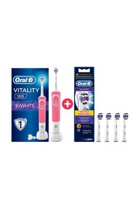 Oral-B D100 3D White Pembe Vitality Şarjlı Diş Fırçası + 4'lü Yedek Başlık 0
