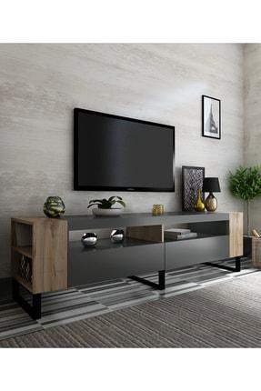 NEWLİNE Snow Tv Ünitesi 40 cm Derinlik Demir Ayaklı Antrasit - Çırağan x2022-1 1