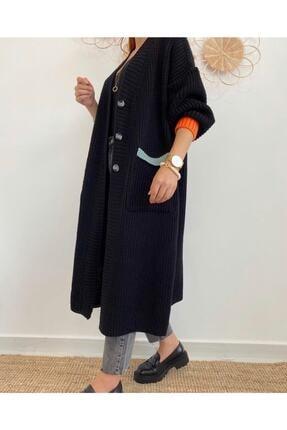 Maystore Kadın Siyah Renk Detaylı Kalın Örme Uzun Triko Hırka 1