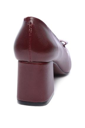 Kemal Tanca Bordo Kadın Vegan Klasik Topuklu Ayakkabı 22 619 BN AYK 2