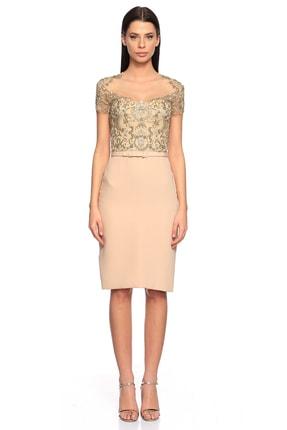 Taş İşleme Pudra Rengi Elbise REE552-900-WHITE