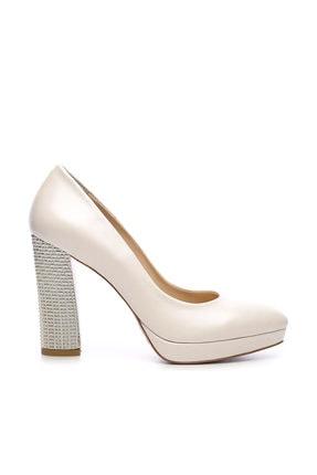 Kemal Tanca Beyaz Kadın Vegan Klasik Topuklu Ayakkabı 22 2048 BN AYK 0