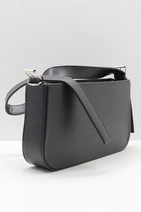 roma italy Kadın Siyah Fermuarlı Baget Çanta 2