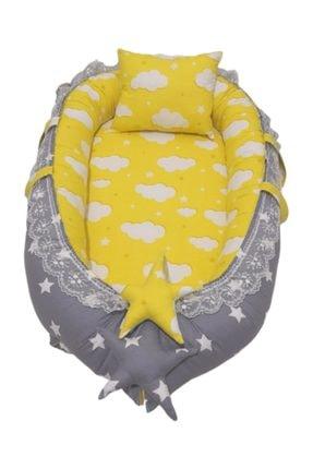 Bebek Atölyesi Gri Yıldız Sarı Bulut Desenli Babynest 0