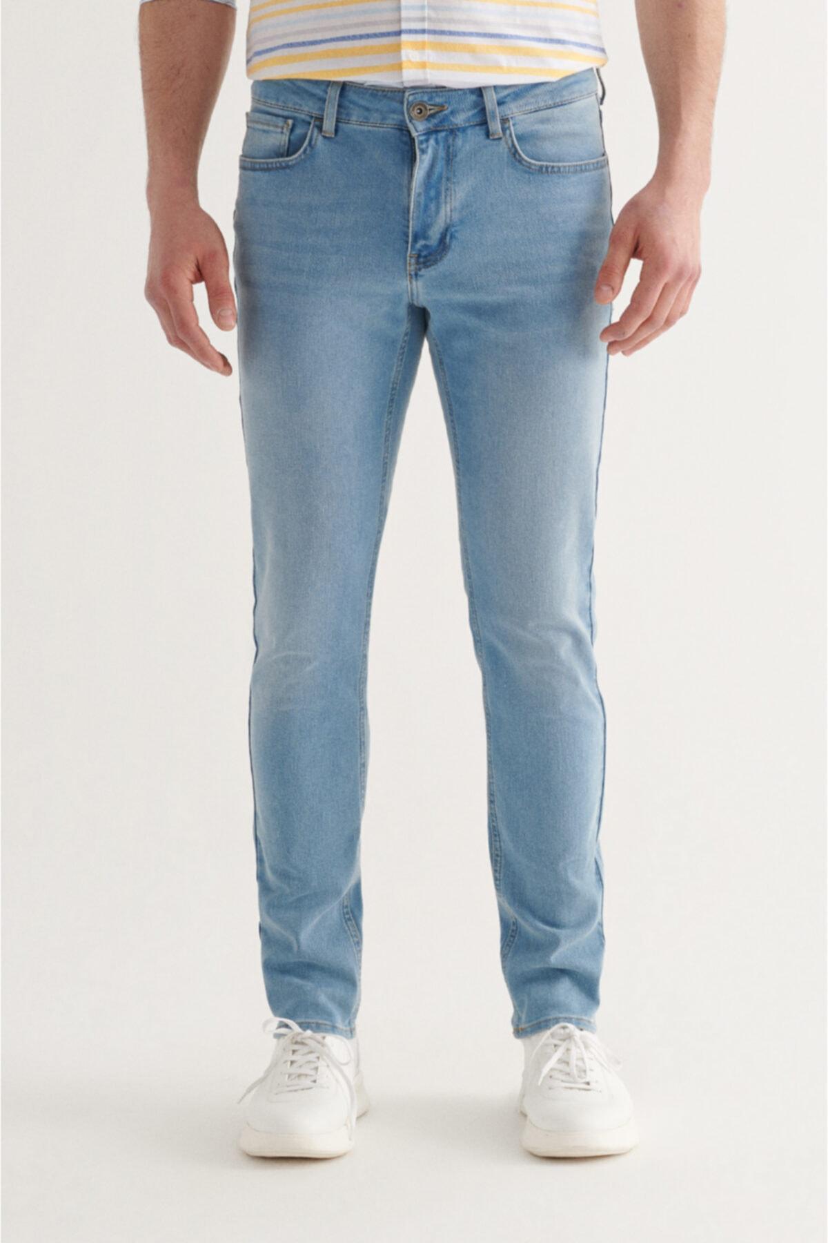 Erkek Açık Mavi Slim Fit Jean Pantolon A11y3558