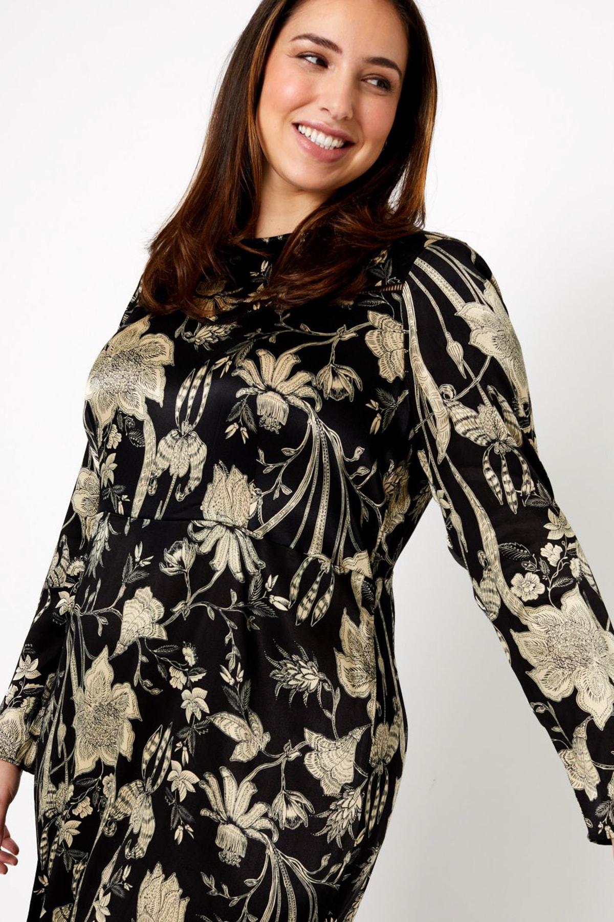 Kadın Siyah Saten Waisted Midi Elbise T42007564