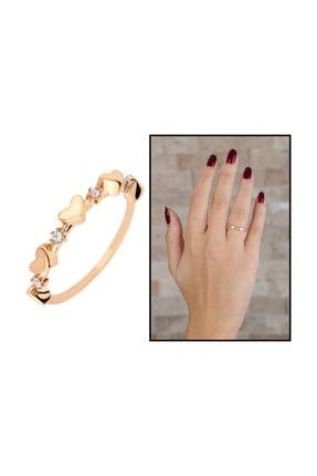 Tesbihane Zirkon Taşlı Sıralı Kalp Tasarım Rose Renk 925 Ayar Gümüş Bayan Yüzük 1