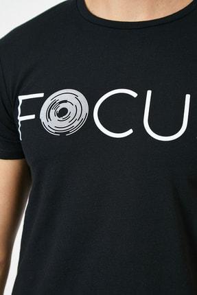 Koton Erkek Siyah Yazılı Baskılı T-Shirt 4